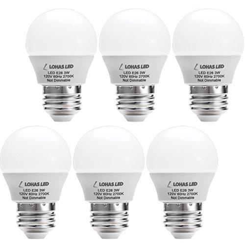 LOHAS® LED 3W(25 Watt Equivalent) Light Bulbs, Warm White 2700K LED Energy Saving Light Bulbs, E26 Medium Screw Base LED Lights for Home(6 Pack) (Led Warm Lightbulbs compare prices)