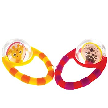 Set of two Flip & Grip Rattles are fun, light-weight rattles baby can play with. Each rattle has a textured grip for baby to explore, and has high-contrast patterns to stimulate vision. The floating beads make a rattle sound to attract baby's attenti...