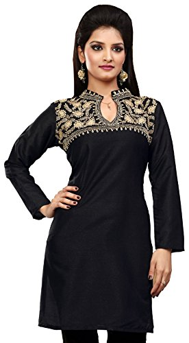 Womens Silk Embroidered Black Tunic Top Kurti Top Sequins
