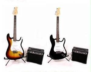 FULL SIZE SUNBURST COMPLETE ELECTRIC GUITAR PACKAGE INCLUDES 15 WATT AMP & GUITAR TUNER