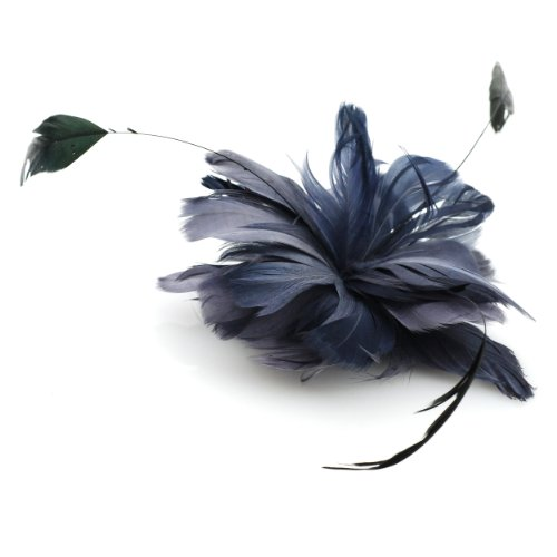 Flower Feather Hair Clip or Brooch in Gray Tone