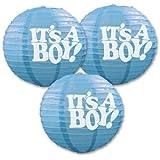 Beistle 54576 3-Pack It's a Boy! Paper Lanterns, 9-1/2-Inch