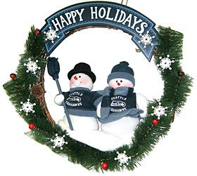 "Seattle Seahawks 20"" Team Snowman Wreath at Amazon.com"
