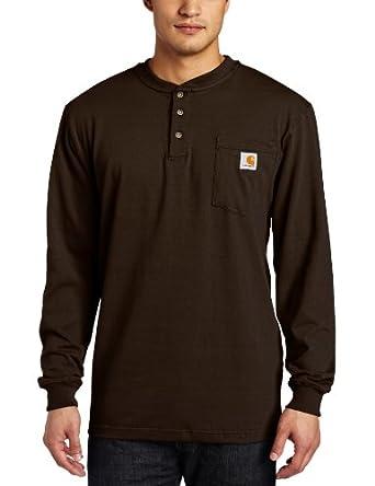 Carhartt Men's Workwear Pocket Long Sleeve Henley T-shirt K128,  Dark Brown,  Medium