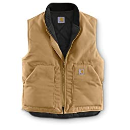 Carhartt Men\'s Arctic Quilt Lined Sandstone Vest Large Worn Brown