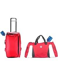 "3G 20"" 23 Liters Duffle Trolley Bag & Cabin Duffle Bag Combo- Red"