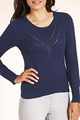 Scoop Neck Chevron Cable Knit Jumper with Angora [T38-3727-S]