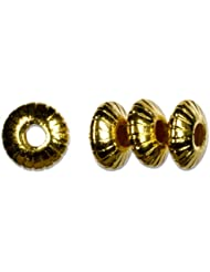 Cousin Gold Elegance 14K Gold Plate Fluted Saucer Bead, 4-Piece