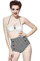 Ninimour-retro 50s Pinup Rockabilly Vintage High Waist Bikini Swimwear Swimsuits