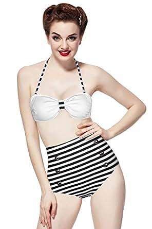 Ninimour-retro 50s Pinup Rockabilly Vintage High Waist Bikini Swimwear Swimsuits (L, Black)