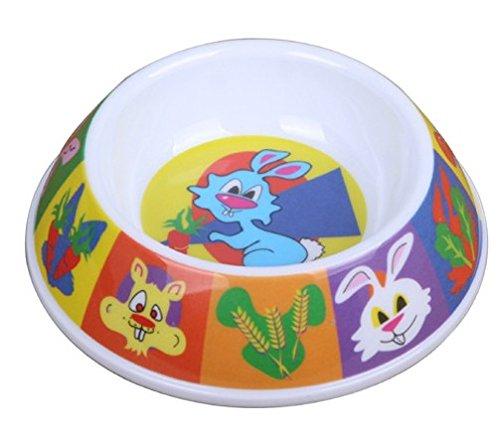 Cute Lovely Carton Pet Feeder Imitation Porcelain Pet Bowl For Dog Cat Hamster Little Rabbit Plastic Bowl (Yellow)