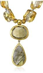 Nava Zahavi Aqua and Citrine Drops Labradorite and Cognac Quartz Necklace