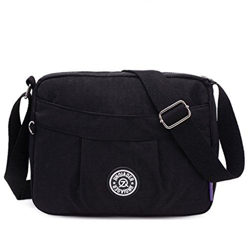 7c3a93d55ba8 TianHengYi Small Water Resistant Women s Cross-body Shoulder Bag  Lightweight Nylon Fabric Messenger Bag Black