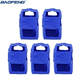 5pcs Handheld Soft Rubber Case Portable Silicone Cover Shell for Baofeng UV-5R Series Two Way Radios Walkie Talkie (Blue) (Color: Blue)