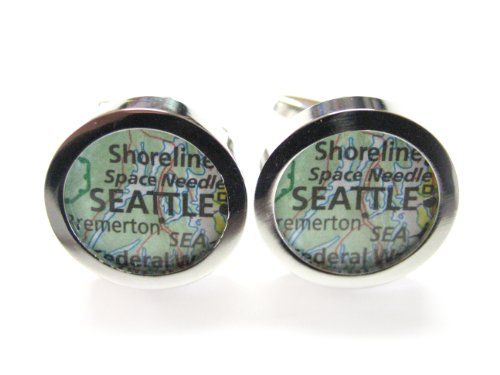 Seattle Washington Map Cufflinks at Amazon.com