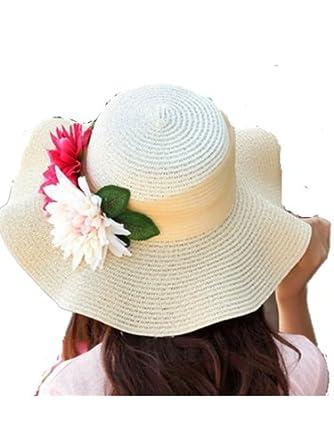 Autek cap Version coréenne de la simulation de fleurs forêt du vent plage d'été chapeau chapeau de soleil dame(603) (Beige)