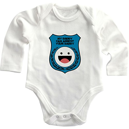 Blue Police Badge My Daddy Can Arrest Daddy Long Sleeve Baby Bodysuit Creeper White 18 Months front-1063527