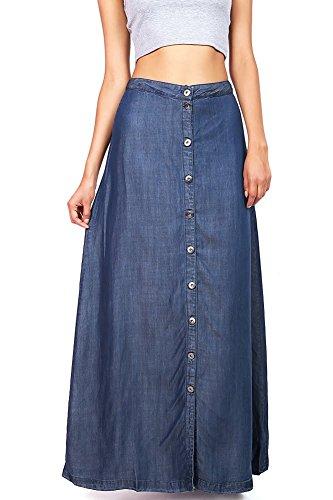 Love Stitch Women's Juniors Long Denim Maxi Skirt (M, Dark Denim) Denim Maxi Skirt