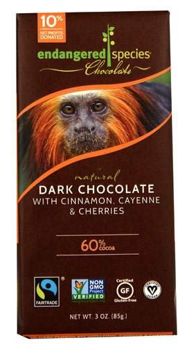 Endangered Species Natural Dark Chocolate Bar with Cinnamon Cayenne and Cherries, 3 Ounce (3 Pack) (Cayenne Chocolate compare prices)