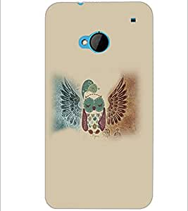 PrintDhaba Owl D-4650 Back Case Cover for HTC ONE M7 (Multi-Coloured)