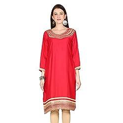 Janasya women's Red Embroidered kurtis