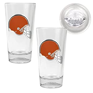 NFL Cleveland Browns Pint Ale Primary Logo Glass Set with Football Bottom (2-Piece),... by Great American Products