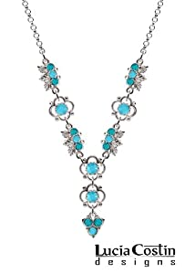 Victorian Style Lucia Costin .925 Sterling Silver Y Shaped Necklace with Turquoise and Turquoise - Green Swarovski Crystals, Ornate with 4 Petal Flowers and Leaf Ornaments