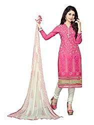 SR Women's Cotton Unstitched Dress Material (Pink)