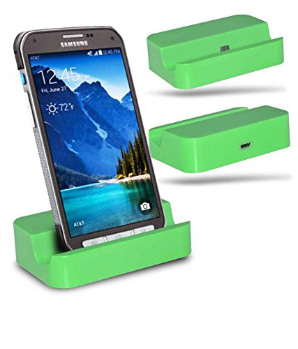 Samsung Galaxy S6 active SM-G890 Station d'accueil de bureau avec chargeur Micro USB support de chargement - Green - By Gadget Giant®
