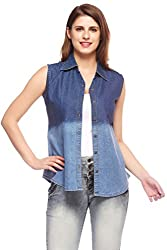 Fasnoya Women's Sleeveless Slim Fit Denim Shirt