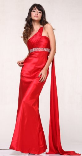 #3162 Satin One Shoulder Pageant Full Length Prom Dress