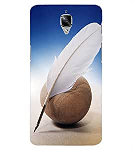 ColourCraft Feather Design Back Case Cover for OnePlus Three