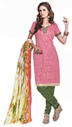 Red Color chanderi Embroidered Straight Salwar Suit Unstitched Dress Materials