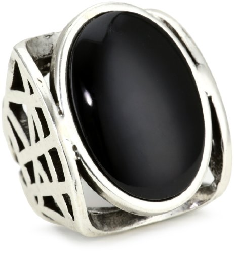 Low Luv by Erin Wasson Cage Ring with Black Oval Cabochon, Size 8