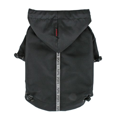 Puppia Authentic Base Jumper Raincoat, Extra-Large, Black