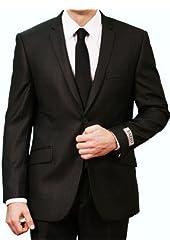 Exclusive Men's Shiny Tone on Tone Stripe Slim Fit Two Button Suit