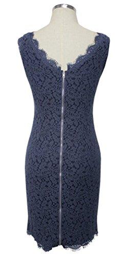 Berydress Women's Midi Dress Slimming Full Lace Party Cocktail Dress (US4, Grey)