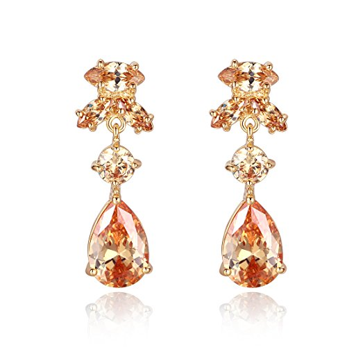 Bamoer Women Copper Plated Champagne Earring Pendant Cubic Zirconium Jewelry