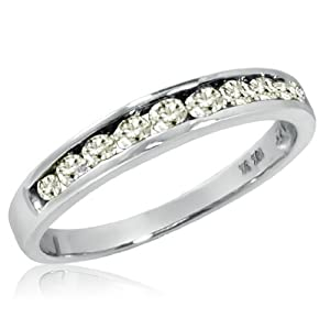 10K White Gold Diamond Anniversary Ring ( 1/2ct available sizes 5-8) sz7