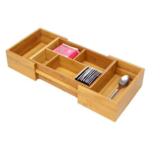Woodquail Natural Bamboo Space Saving Expandable Adjustable Drawer Inserts Organiser, Cutlery Flatware Tray. Made of Eco-friendly Natural Sustainable Material