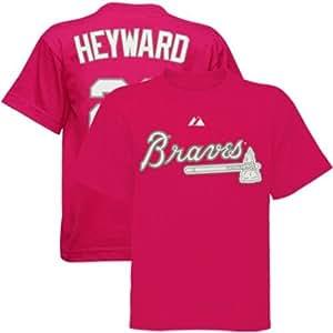 atlanta braves jason heyward majestic hot pink youth t