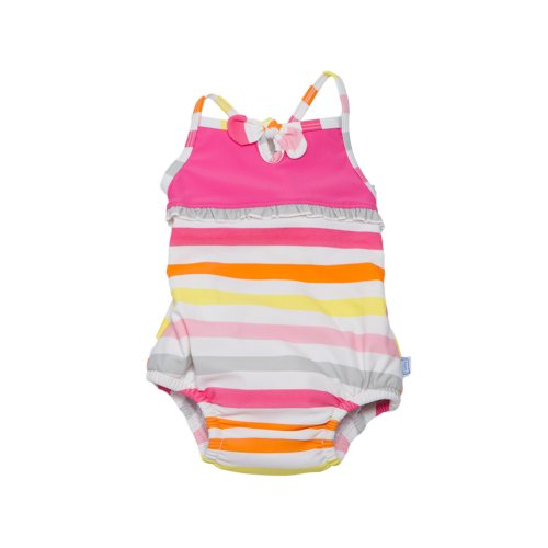 Bow Tanksuit (Upf 50+) - Pink Multi-Stripe (12 Months) front-991227