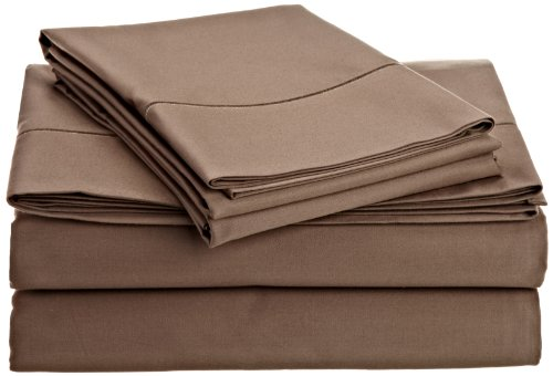 Hn International Group Perthshire 1000 Thread Count Solid Sheet Set With Single Embroidered Marrow On The Flat Sheet And Pillow Cases, Queen Size, Taupe