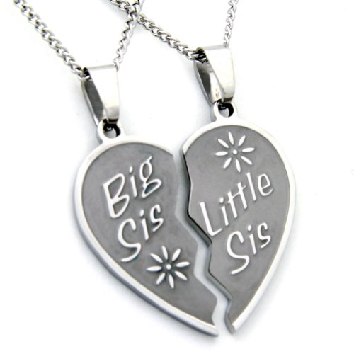 Big Sis Lil Sis Necklace - Big Sis & Lil Sis Break Apart Heart Pendant 2 Half Hearts (2) 18 Inch Chains (Lil Sis Big Sis Mom Necklace compare prices)