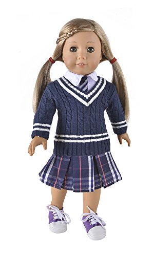 "Ebuddy School Style Sweater+Skirt+T-shirt Doll Clothes Fits 18"" Girl Doll - 1"