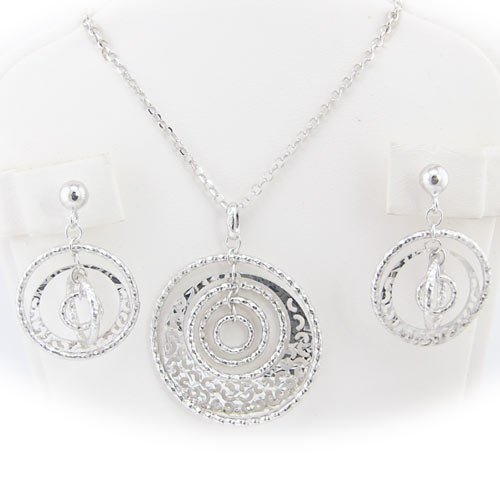 Rhodium Plated Sterling Silver Hammered Concentric Rings Laser Cut Design Cable Chain Necklace Earrings Italy