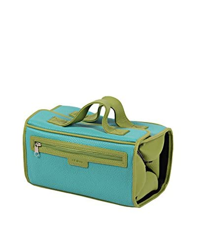 Morelle & Co. Two-Tone Roll-N-Go Jewelry, Cosmetics & Toiletries Case, Lime/Aqua