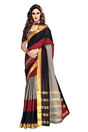 Ishin Cotton Red & Black Solid Saree available at Amazon for Rs.6099