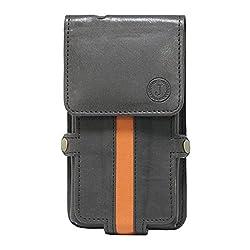 Jo Jo A6 Nillofer Series Leather Pouch Holster Case For Motorola Moto E Dual SIM Black Orange
