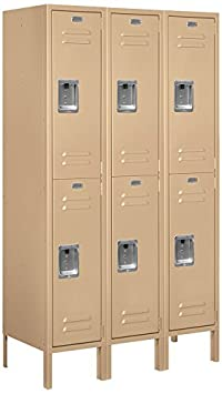 Salsbury Industries Assembled 2-Tier Standard Metal Locker with Three Wide Storage Units, 5-Feet High by 15-Inch Deep, Tan
